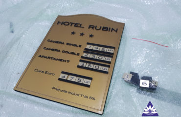 Panou tarife receptie Hotel Rubin
